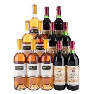 Lote de Vinos tintos y Blancos de Italia y España.  Señorio de Silanes. Cosecha 1989. En presentaciones de 750 ml. Total de piezas: 12.