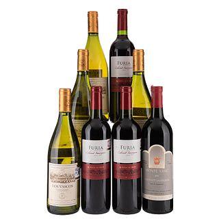 Lote de Vinos Tintos y Blancos. Los Vascos. Furia Reservado. Monte Xanic. Total de Piezas: 8.