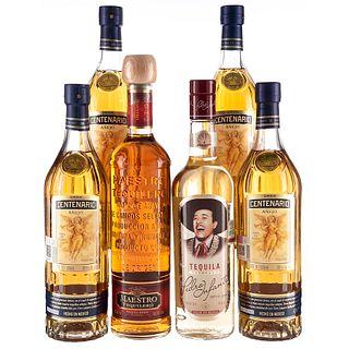 Lote de Tequila. Gran Centenario. Maestro Tequilero. Tequila Pedro Infante. En presentaciones de 1 litro y 750 ml. Total de Piezas: 6.