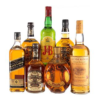 Lote de Whisky. Chivas Regal. Pich. Glenmorangie. En presentaciónes de 750 ml. Y 1Litro. Total de piezas: 7.