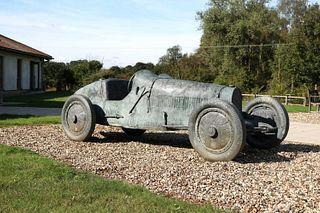 A Bugatti Type 35 sculpture,