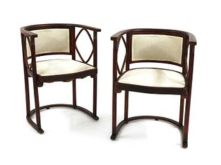 A pair of Viennese Secessionist 'Fledermaus' armchairs,