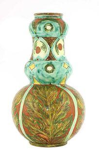 A Della Robbia pottery double gourd vase,
