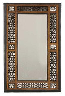An Aesthetic Movement Moorish mahogany mirror,
