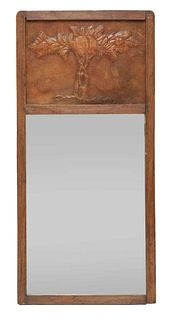 An Arts and Crafts oak wall mirror,