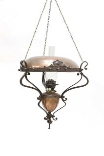 An Arts and Crafts hanging copper oil lamp,