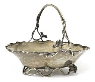 An Aesthetic Movement silver basket