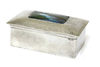 A Liberty Tudric pewter and enamel jewellery box,