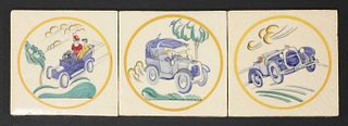 Three Carter's Poole Pottery 'Sporting' tiles,