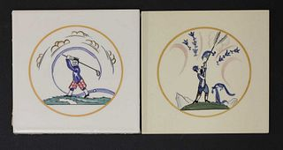 Two Carter's Poole Pottery 'Sporting' tiles,
