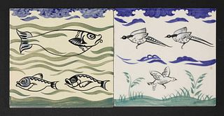 Two Carter's Poole Pottery tiles,