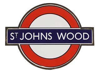 A London Underground enamelled station sign: 'St Johns Wood',