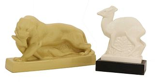 Two Wedgwood pottery animals,