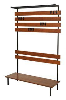 A teak and metal modular coat rack,