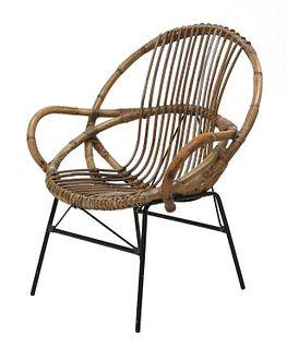 A rattan armchair,