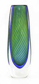 A Kosta glass 'Fishnet' vase,