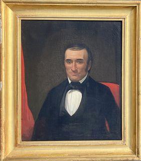 American folk art portrait 19th c. 'Uncle Amos', period frame