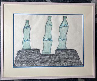 Creative Gerald De Prie, Three Coke Bottles, 3/13/1995, colored pencil on paper