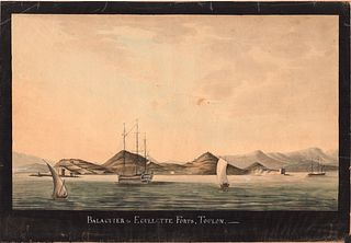 Watercolor view 18th/19th c. Balaguier to Egullette Forts Toulon Napoleon