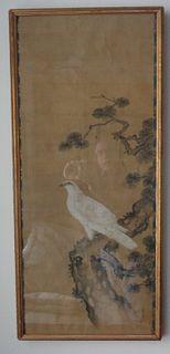 Asian white hawk hakutaka painted scroll on silk 19th c. signed
