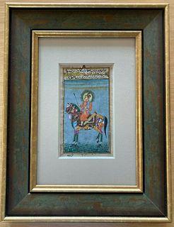 Middle Eastern miniature, 19th-20th c. 'Horse & Rider', gouache & gilt