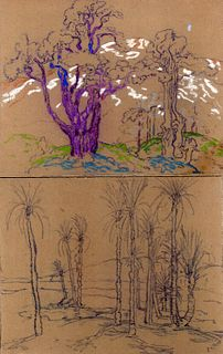 Pr. of HENRY JAMES SOULEN original drawings gouache on sandpaper estate stamped