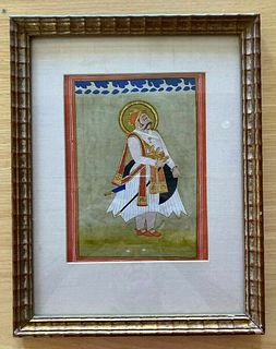 19th c. Middle Eastern miniature 'Man Standing', gouache and gilt