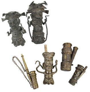 Group of Six Assorted West African Bronze Pipes