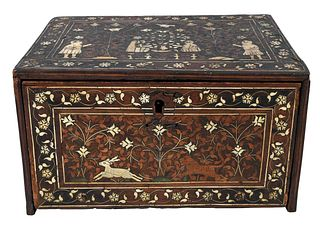 Indo-Persian Bone Inlaid and Marquetry Jewelry Box