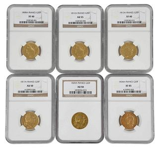 Six 19th Century French 20 Franc Gold Coins