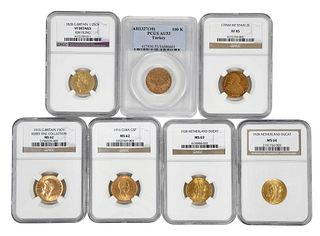 Seven Assorted Gold Coins