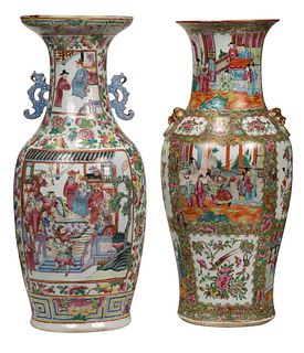 Two Similar Large Chinese Export Rose Medallion Vases