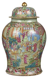 Large Chinese Export Rose Medallion Temple Jar