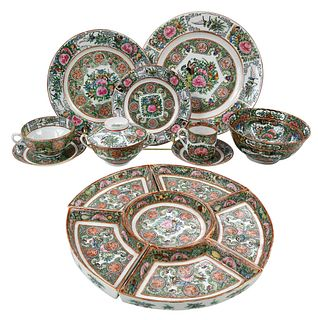 144 Piece Chinese Rose Medallion Porcelain Service