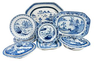 Ten Pieces Chinese Export Blue and White Porcelain