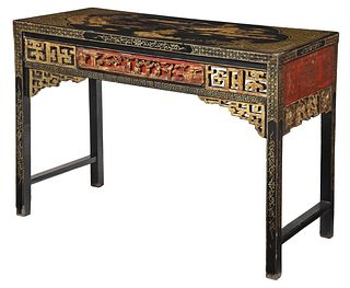 Chinese Lacquered, Gilt, and Polychromed Scroll Table