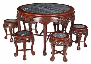 Chinese Carved and Marble Inset Suite, Six Stools
