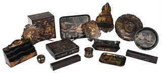 Group of 15 Gilt Lacquered Objects