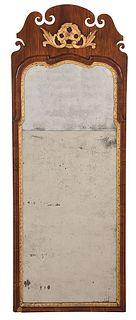 Queen Anne Walnut and Parcel Gilt Mirror