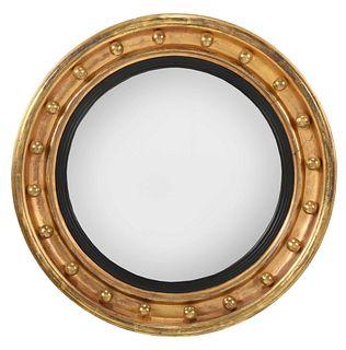 Classical Giltwood and Ebonized Convex Mirror
