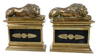Pair of Gilt Bronze Lion Chenets