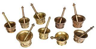 Nine Continental Brass Mortars and Pestles
