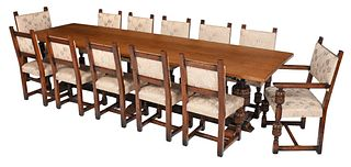 Jacobean Style Carved Oak Upholstered Dining Suite