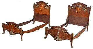 Fine Pair Louis XV Style Bronze Mounted Marquetry Bedsteads