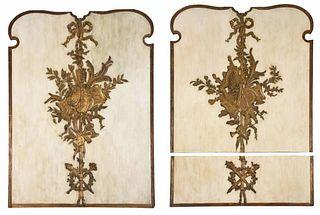 Group of Three Louis XVI Style Gilt Wall Panels