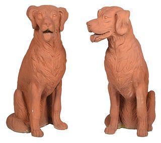 Pair Terracotta Irish Setter Garden Statues