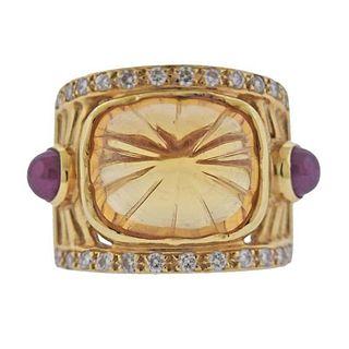 18K Gold Diamond Citrine Ruby Ring