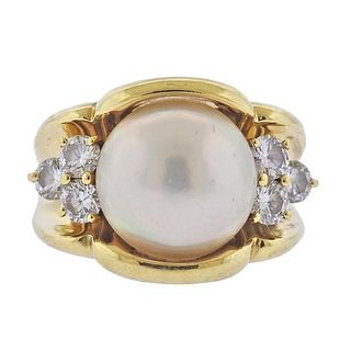 18K Gold Diamond Mabe Pearl Ring