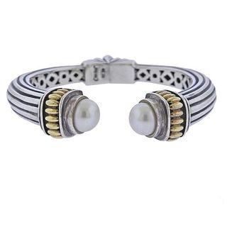 Lagos Caviar Silver 18K Gold Pearl Cuff Bracelet