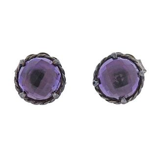 David Yurman Chatelaine Silver Amethyst Stud Earrings
